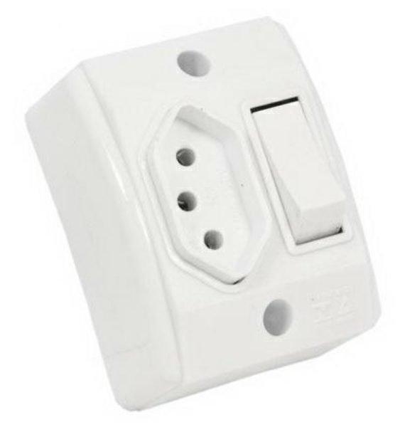 Interruptor Simples 10A - 250V - Conjunto Montado Para Sobrepor 4 Polegada(s) X 2 Polegada(s) (Caixa + 2 Módulos)