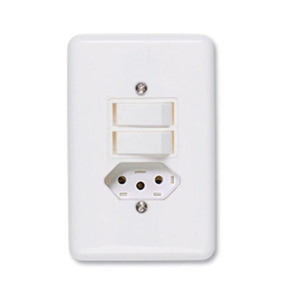 Interruptores Simples (2 Módulos) + Tomada 2P+T 10A - 250V - Conjunto Montado Para Embutir 4 Polegada(s) X 2 Polegada(s) (Placa + Suporte + Módulos)